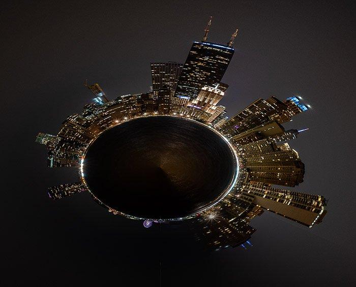 Tiny planet cityscape photo