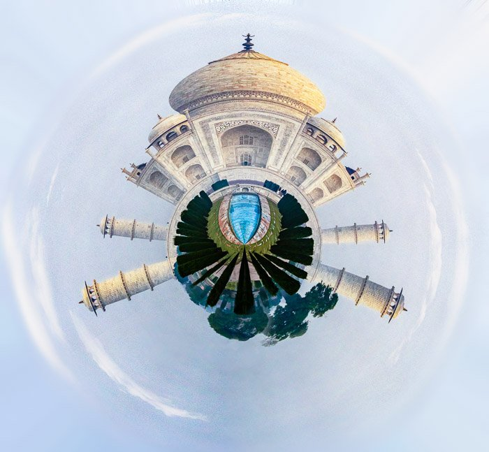 Taj Mahal as a tiny planet made in Photoshop
