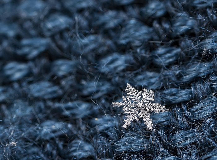 Macro image of snowflake.