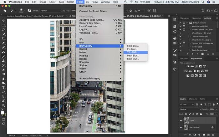 Screenshot of Photoshop workspace. Shows how to navigate to Tilt-Shift blur filter.