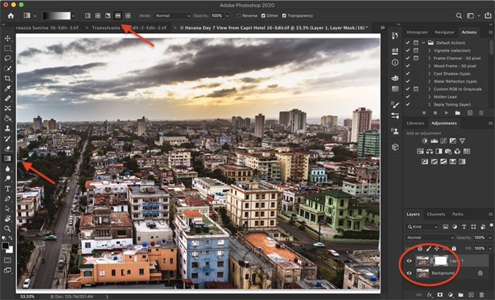 Screenshot of Photoshop workspace. Shows duplicate layer, layer mask, and graduated filter tool settings.
