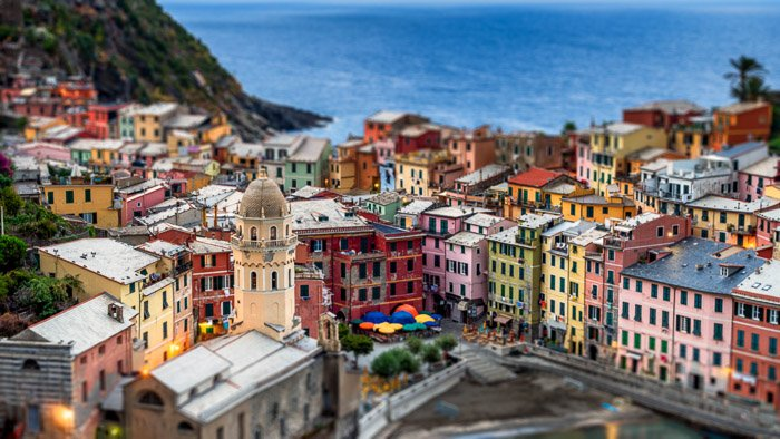Tilt shift cityscape of Vernazza, Italy