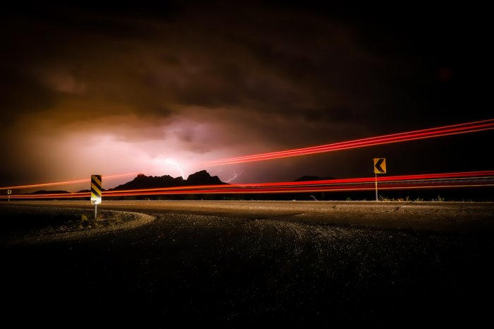 Streaming light trails on a highway at night