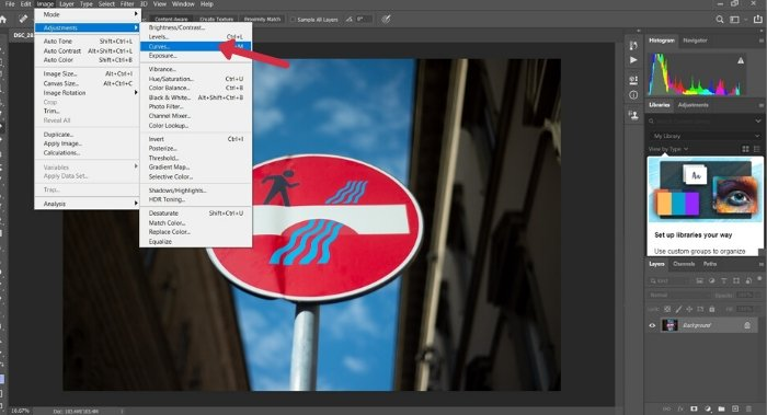 A screenshot of opening Curves in Photoshop