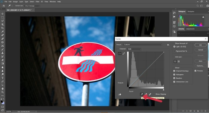 A screenshot of setting the black point in Photoshop