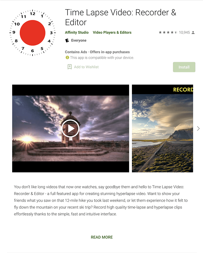 A screenshot of the Time Lapse Video: Recorder and Editor app in Google Play Store.