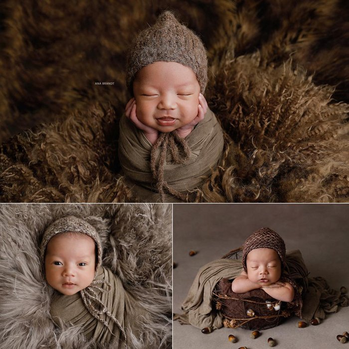 A tripych of baby portraits by Ana Brandt