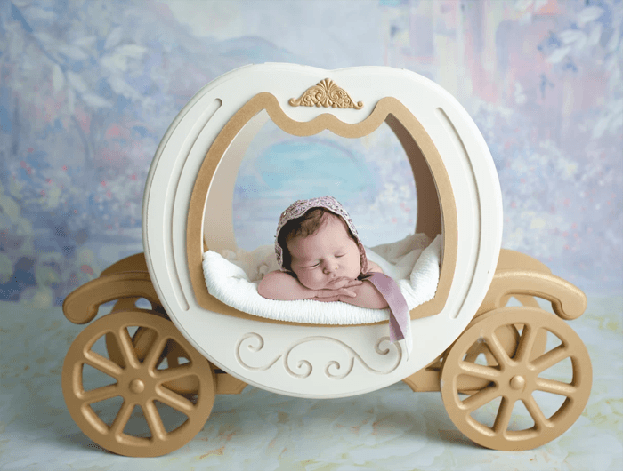 A cute newborn baby posed in a toy carriage