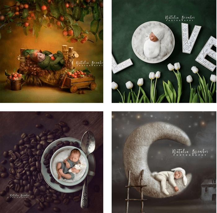 A four photo grid by baby photographer Natalia Brembor