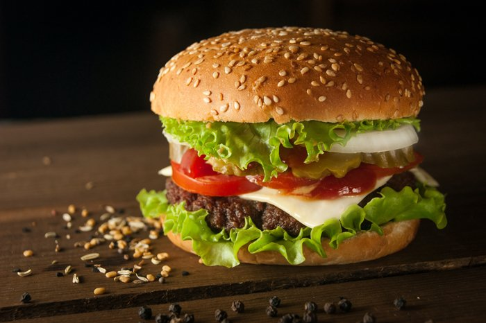 Close-up photo of a delicious burger