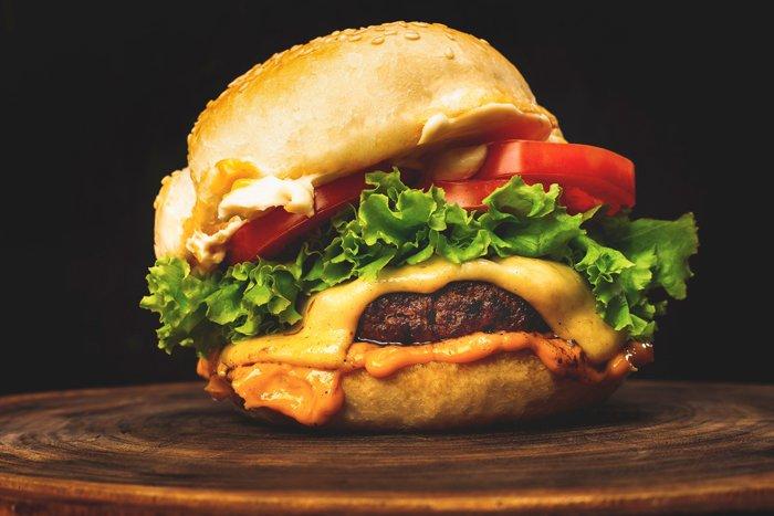 Close-up photo of a delicious hamburger