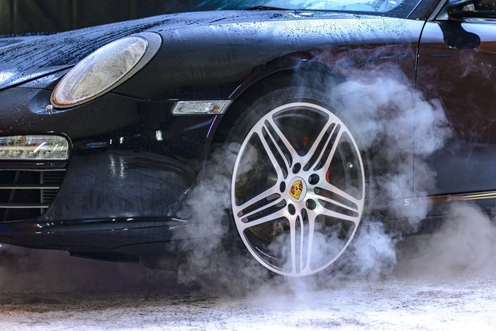 Close-up photo of the wheels of a car