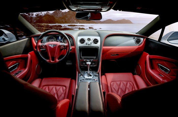 Inside of a sports car