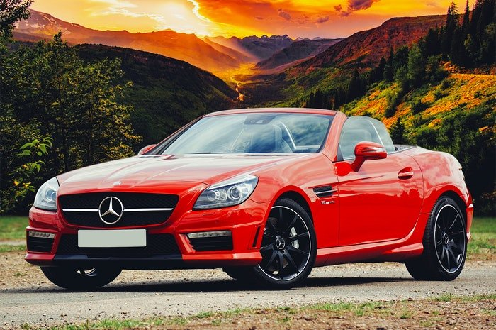 Photo of a red Mercedes sports car