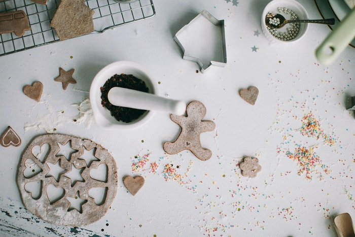 Flat lay food photo of making gingerbread men