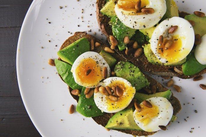 Flat lay food photo of egg salad on toast