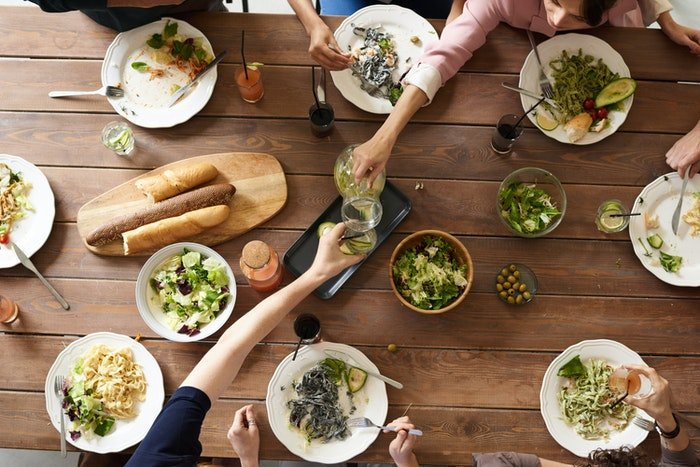 Flat lay food photo of people sharing lunch