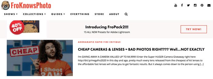 Screenshot of Jared Polin blog homepage