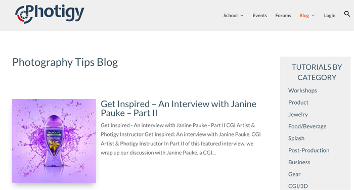 Screenshot of a photography blog homepage
