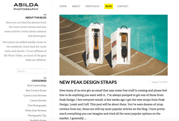 Screenshot of Asilda photography blog homepage