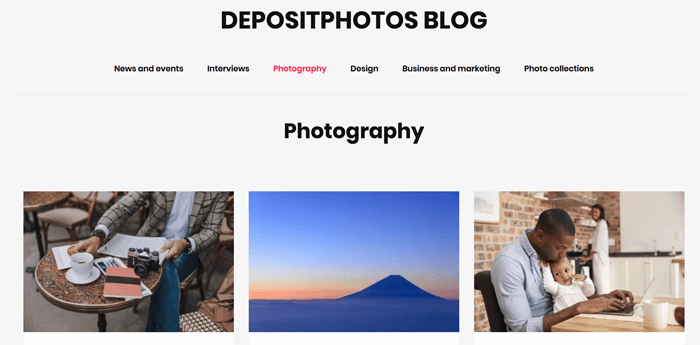 Screenshot of Deposit Photos blog homepage