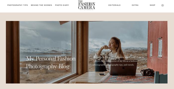 Screenshot of The Fashion Camera photography blog homepage