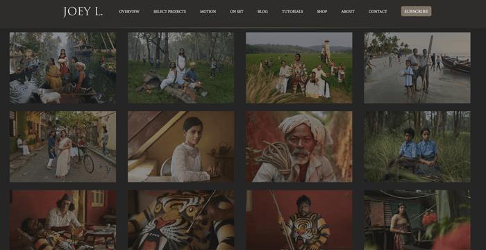Screenshot of Joey L photography blog homepage