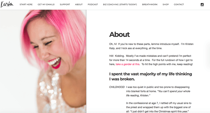 A screenshot of Kristen Kalp photography blog