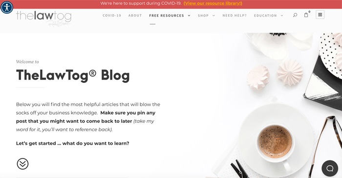 A screenshot of the The LawTog photography blog