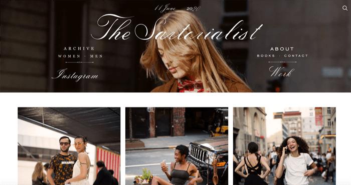 Screenshot of the Sartorialist photography blog homepage