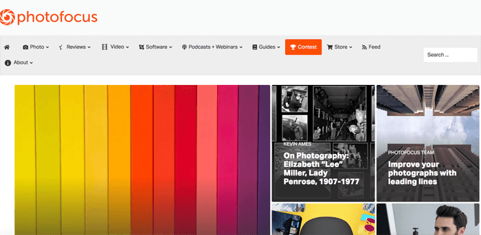 Screenshot of Scott Bourne photography blog homepage