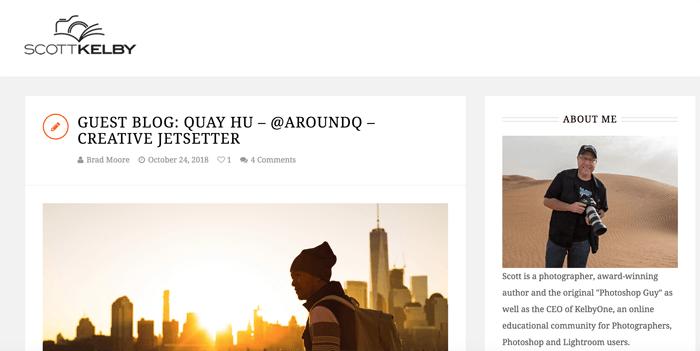 Screenshot of Scott Kelby photography blog homepage