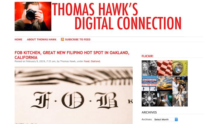 Screenshot of Thomas Hawk photography blog homepage