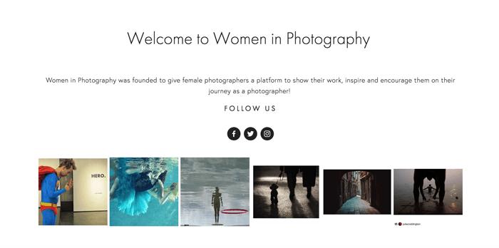 Screenshot of Women in Photography blog homepage