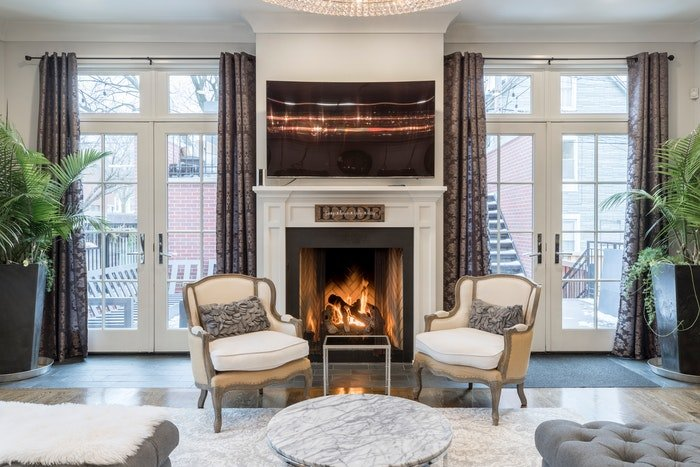 Real estate photo of the interior of a lavish living room