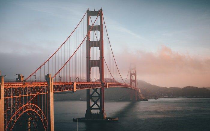 A bridge across a large river