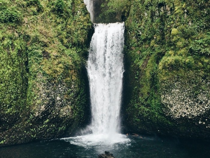 A flowing waterfall