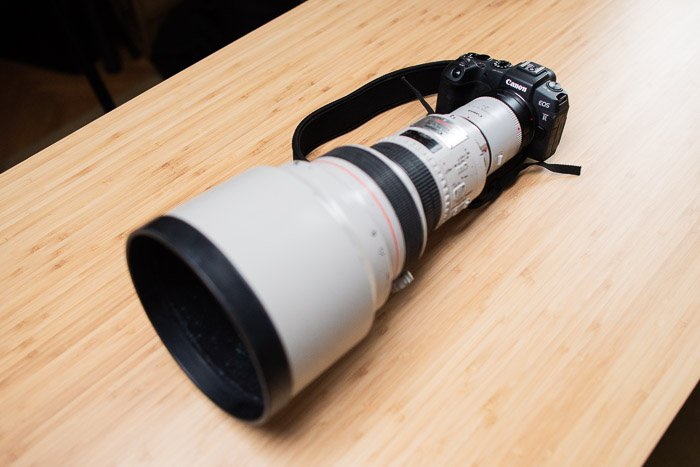 Canon EOS RP camera with huge lens attached