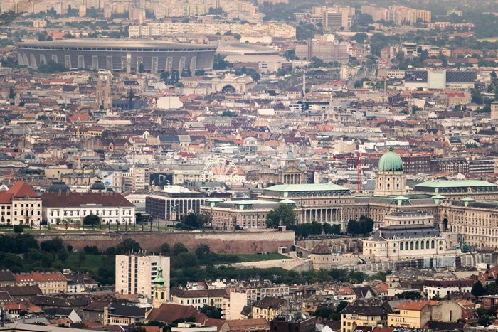High angle cityscape of Budapest
