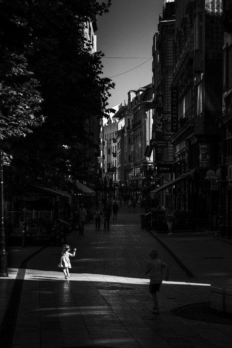 Black and white street scene in Budapest