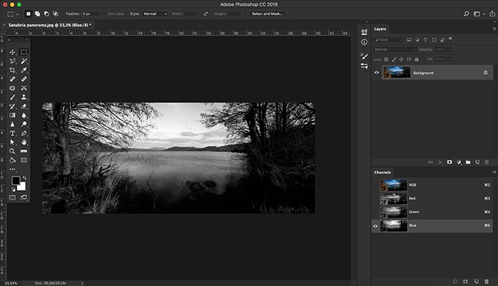 A screenshot of using color channels in Photoshop