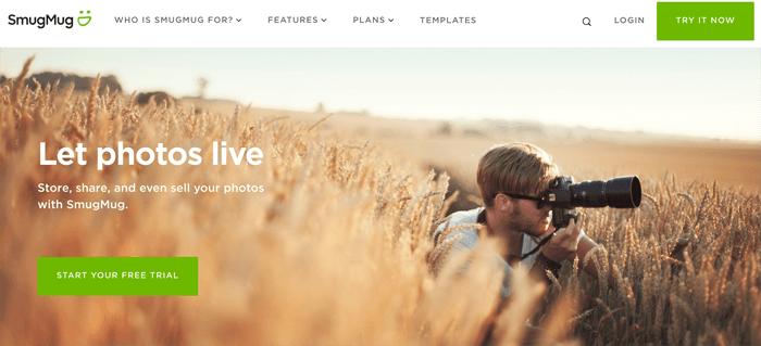 A screenshot of smugmug photography website