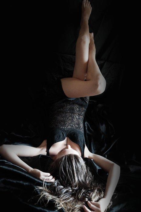 A brunette model in black lingerie