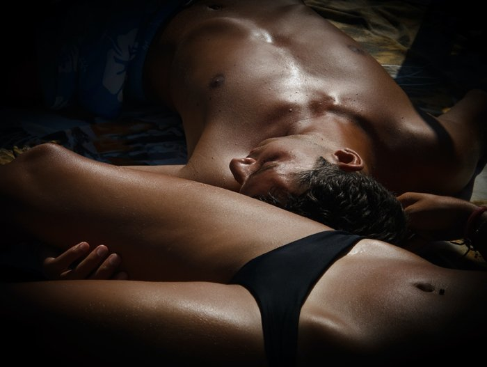 Close up of a couple lying in bed