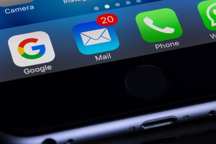 A close up of using email marketing on a smartphone