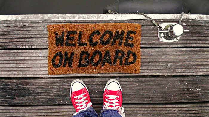 A 'welcome on board' welcome mat