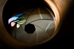 A close up photo of an aperture diaphragm.