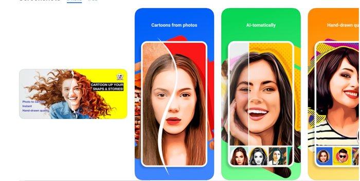A screenshot of Toonme app for turning photos into cartoons