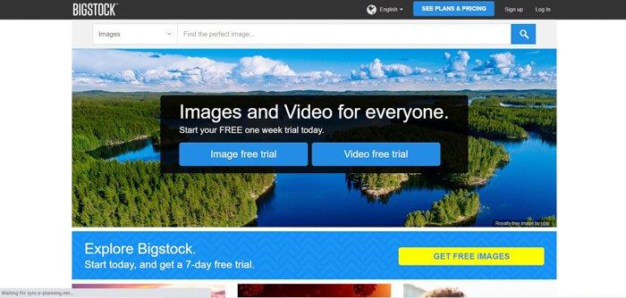 Screenshot of Bigstock website homepage