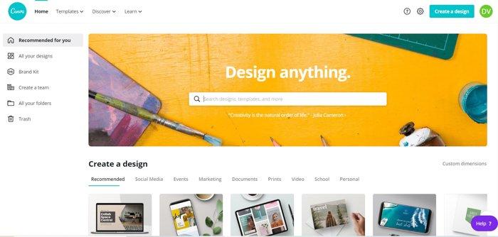 Screenshot of Canva homepage
